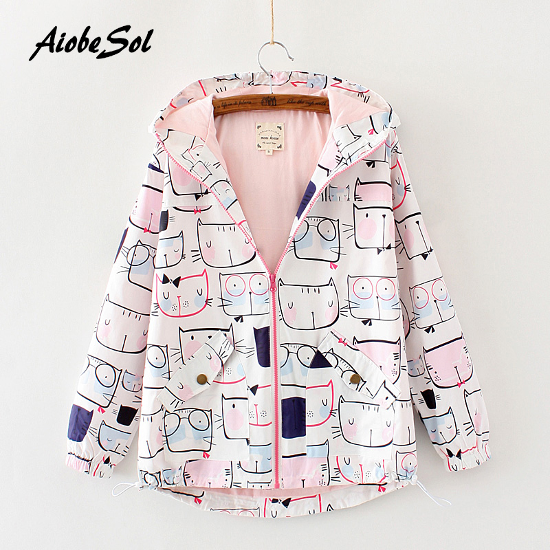 2017 Autumn New Women   Basic     Jacket   Mori Girl Cute Cat Print Loose Zipper Hooded Long Sleeve Casual   Jacket   Female Outerwear