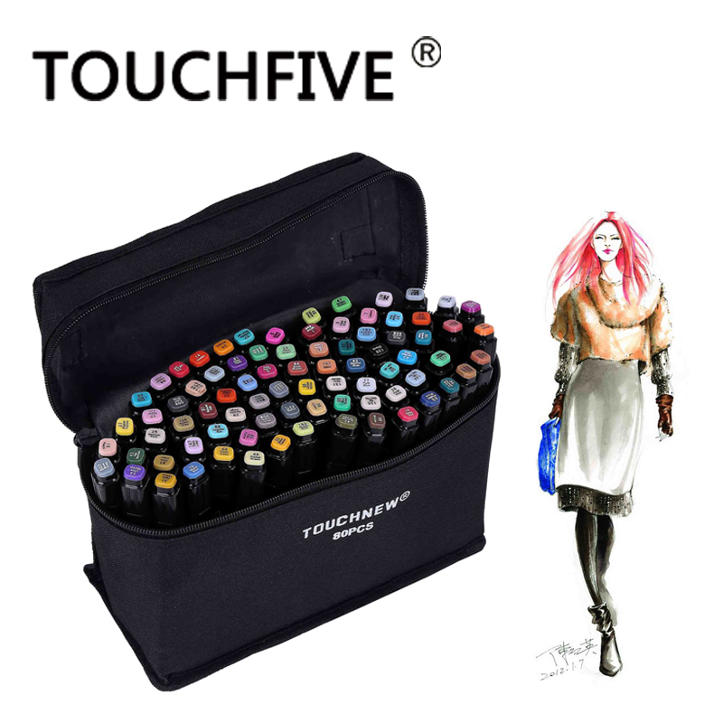 TOUCHFIVE 168 30 40 60 80 Colors Art Markers Sketch Markers Pen Oily Alcoholic Dual Headed Markers Set Manga Design touchnew 30 40 60 80 color art markers set material for drawing alcoholic oily based marker manga dual headed brush pen