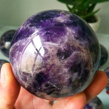 70/90mm Natural amethyst stone quartz crystal ball beautiful purple quartz healing crystals tumbeelluwa natural deep purple amethyst sphere gem stone ball crystal quartz sculpture figurine with wooden stand 2 3 2 5
