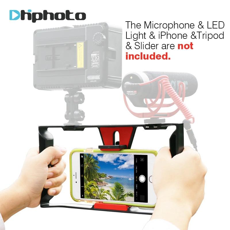 Ulanzi Smartphone Video Griff Rig Filmausrüstung Stabilisator Fall Rig für film youtube video Led-Licht & Ritt VideoMicro mikrofon
