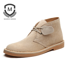 Maden Cow Suede Desert Boots High-top Flat Men Shoes Martin Wearable Vintage Casual Split Leather Round-toe Camel Khaki Britain