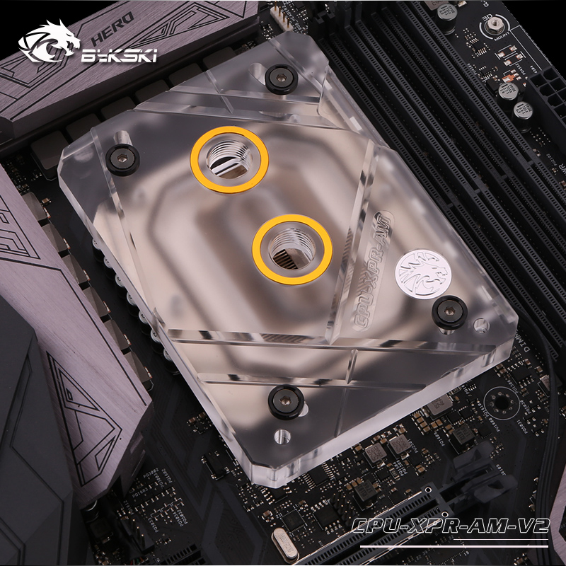 Bykski CPU Water Cooling Block Radiator use for AMD Ryzen3000 AM4 AM3 X399 1950X TR4 X570 Motherboard Transparent Acrylic A RGB in Fluid DIY Cooling from Computer Office