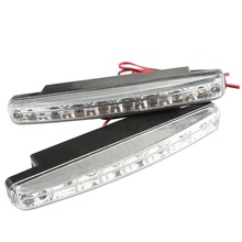 Brand New New Fashion 2pcs Bright Safety 8 LED Daytime Running Light DRL Lamp White LED Bulbs Fog Day Driving