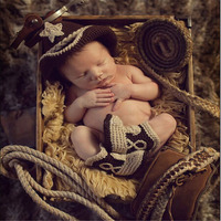 Cowboy Set Crochet Baby Hat Booties Set For Photo Shoot Crochet Newborn BABY Coming Home Outfits