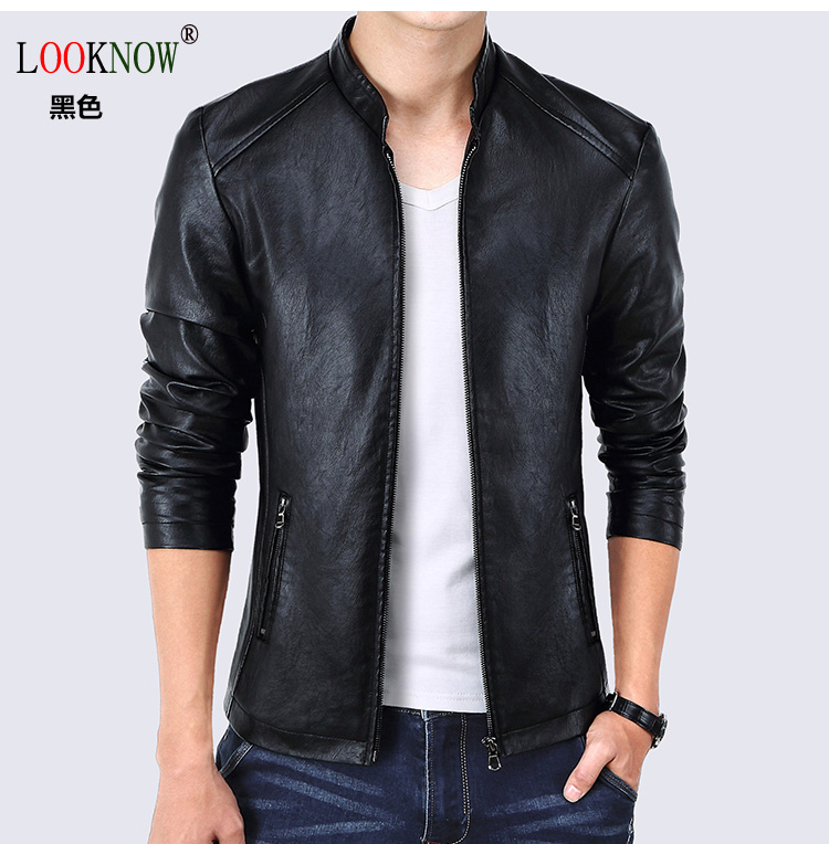 LOOKNOW 2017 fashion Leather Jacket Men Coats High Quality PU Outerwear Men Business Winter Faux Fur Jacket