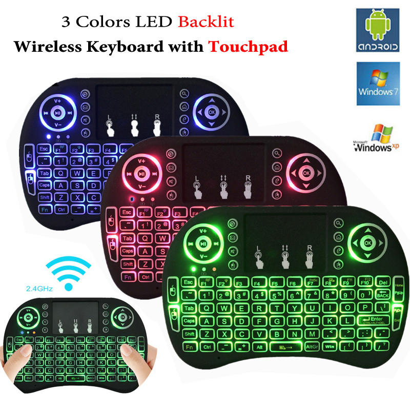 Backlit i8 Air Mouse Mini Wireless Keyboard Touchpad Remote Control for Android TV BOX X96 T95 Backlight PC PS3 Gamepad Hebrew t2 2 4ghz ultra thin wireless mini keyboard with touchpad mouse colorful backlit