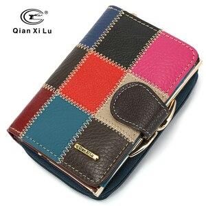 Image 1 - Skóra bydlęca kobiety torebka małe portfele luksusowe marki pani monety torba na kieszonkowe portfel damskie portmonetki carteira feminina
