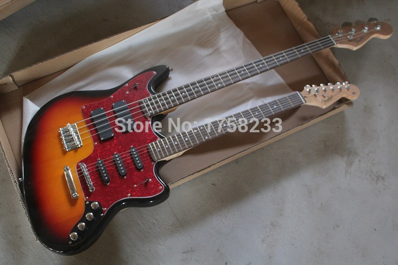 2019 2015 new style double neck active pickups guitar 4 strings bass 6strings electric guitar. Black Bedroom Furniture Sets. Home Design Ideas