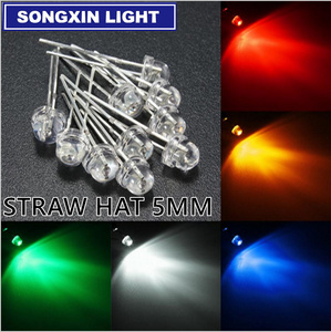 100 pcs/lot 5mm straw hat led diode 20 pcs each yellow red blue green white (4.8mm) leds Light Emitting Diodes mix color kit
