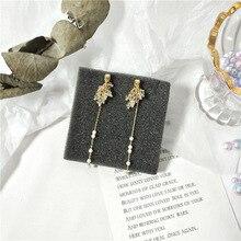 Simple Bohemian Long Glass Beads Earrings 2020 Korea Fashion Pearl Tassel Earrings For Women Accessories Jewelry Weddings Gift xinhan needle fashion pearl earrings long tassel earrings women simple earrings accessories wholesale