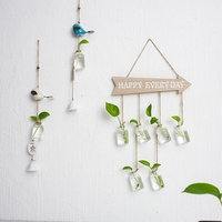 Ins Creative Home Furnishing Decorative Glass Bottle Wall Hanging Hydroponic Small VASE MINI Transparent Glass Bottle