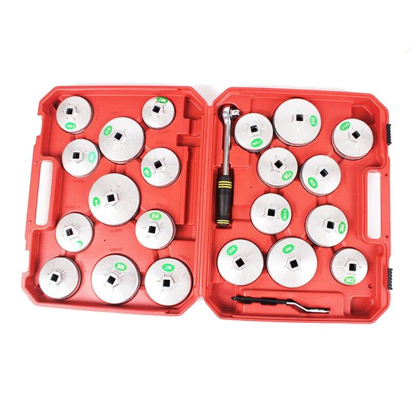 23 pcs/ensemble Filtre À Huile Cap Clé de Suppression Socket Set Clé À Cliquet Coupe Type Avec Portable Cas De Stockage à Chaud Vente