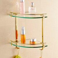 Modern Polish Triangle Glass Dresser Holder Corner Basket Plated Zirconium Gold Cosmetic Shelf Mounting Bathroom Accessories