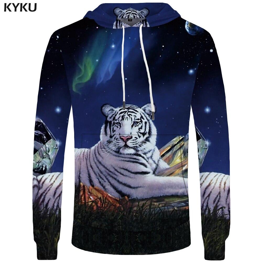 KYKU Brand Tiger Hoodies Men Galaxy Sweatshirts Animal Sweatshirt Pocket Hoddie Big Size 3d Hoodies Cool Funny Casual Man