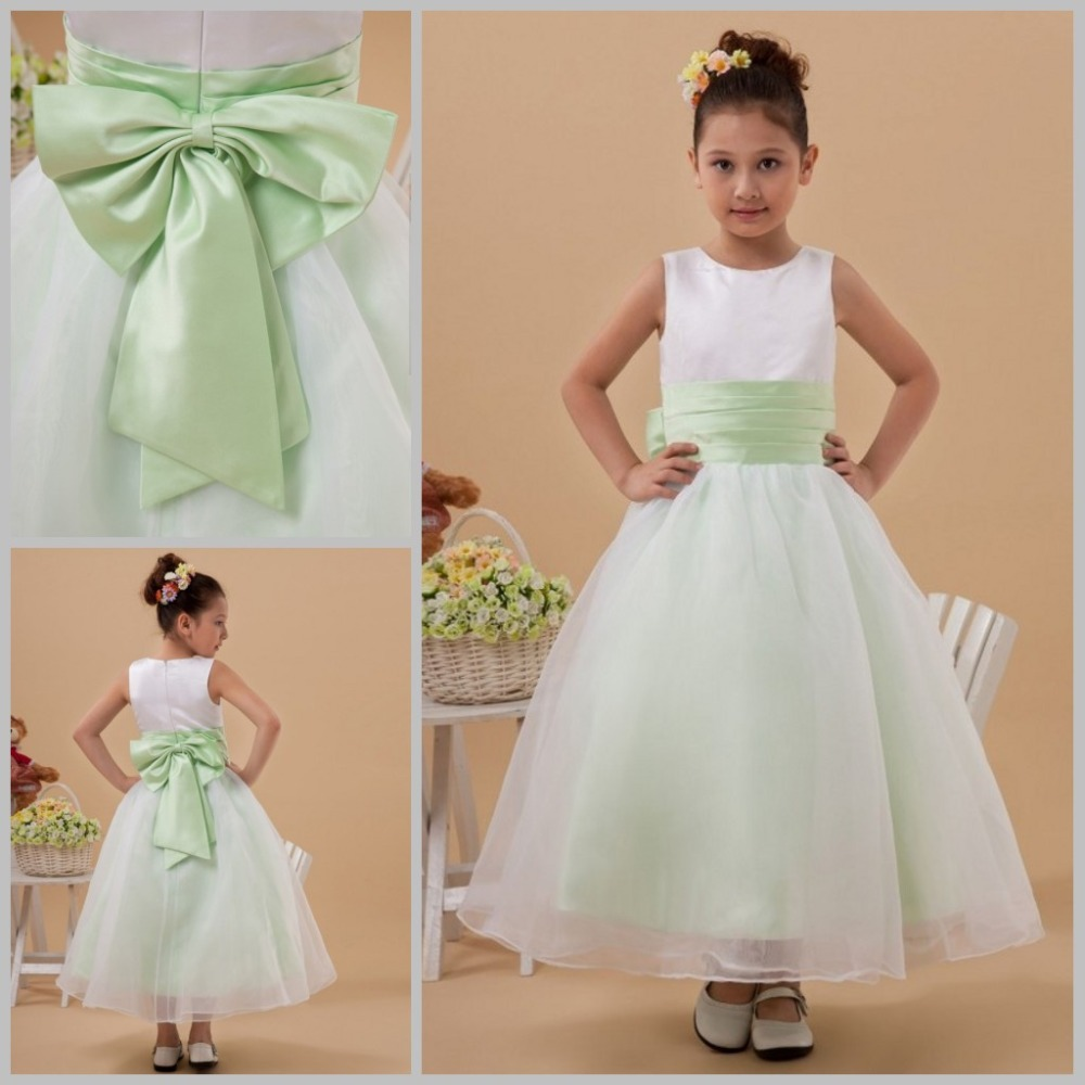 Lovely Kids Evening Gowns 2017 Flower S Cupcake Pageant Dresses Mint Green Sashes Bow Ball Gown Flowers In From Weddings