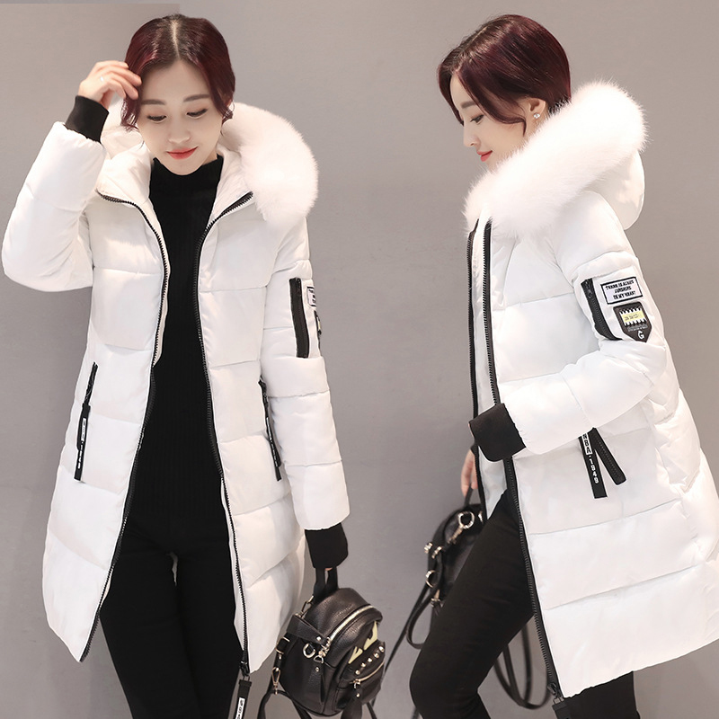 Parka   Women Winter Coat Long Slim Hooded Coats & Jackets Warm Cotton Fur   Parkas   Female Casual Outwear Black Red LD1268