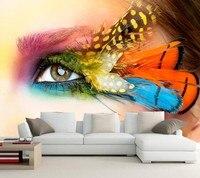Custom Eyes Feathers Closeup Glance Makeup Wallpapers Cosmetics Shop Living Room TV Wall 3d Wallpaper Art