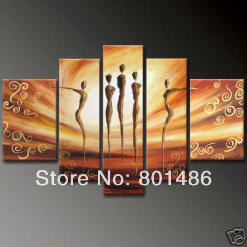 Hand painted Canvas Wall Art abstract Figure paintings of people 5 Panel Picture For Home Living Room Decoration