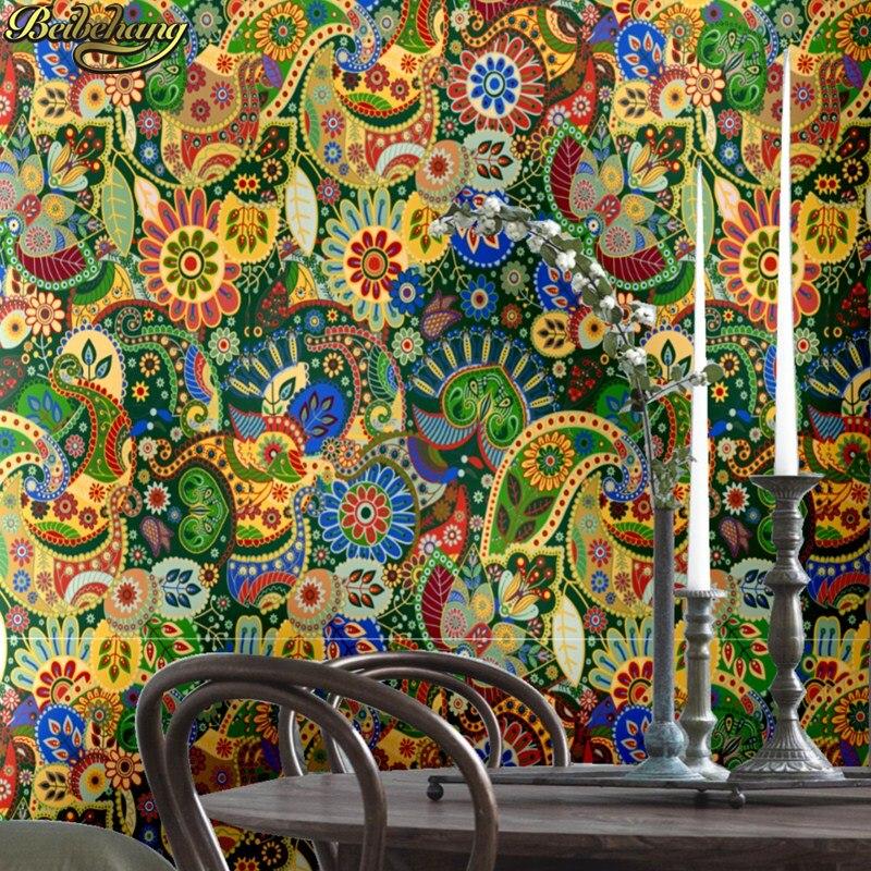 Beibehang européen bohème ethnique papier peint pour murs 3 d coloré abstrait peinture fonds d'écran pour salon décoration rouleau