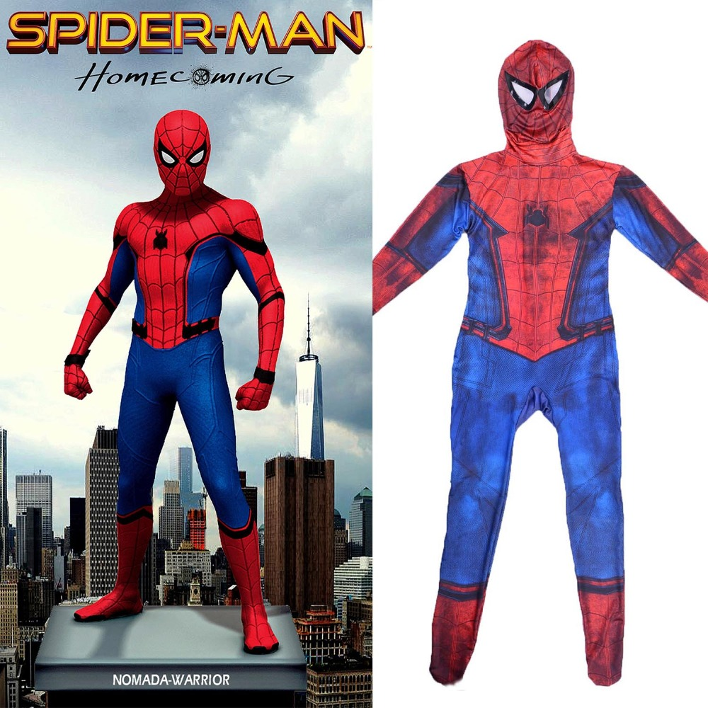 Spider Man Homecoming Costume Kids Spiderman Full Body Zentai Suit 2017 Movie Tom Holland Spider-man Teen Boy Superhero Series