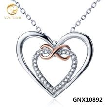 Moda Plata de ley 925 CZ kolye Acento Corazón Amor Infinito Joyería Gargantilla collares Al Por Mayor Colgante de Collar de Regalo GNX10892