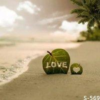 Romantic LOVE Sea Photography Background For Wedding Photos Studio Vinyl Backdrops Muslin Digital Backgrounds Cloth Spray Paint