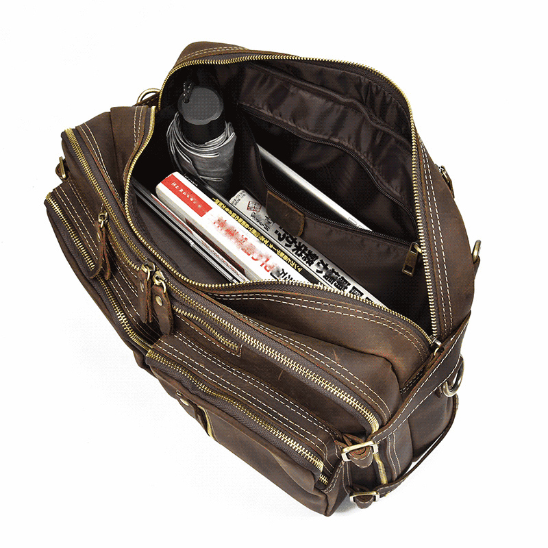 Multifunction Crazy Horse Leather Man Briefcase Leather Handbag Travel Bag Vintage Cow Leather Laptop Business Bag Tote Fashion