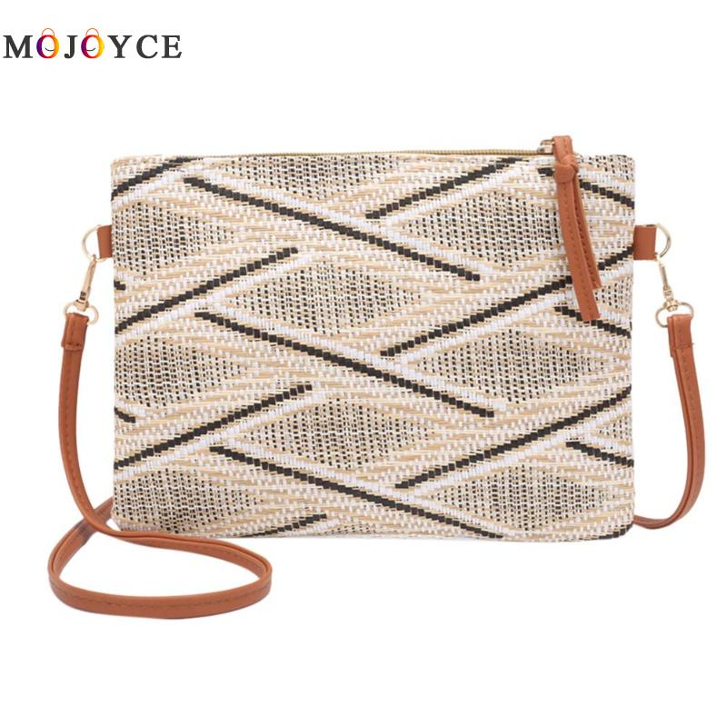 24 X 19 X 2cm Vintage Women Weave Crossbody Bag Lady Bohemian style Shoulder Bags Casual Geometric Envelope Handbags