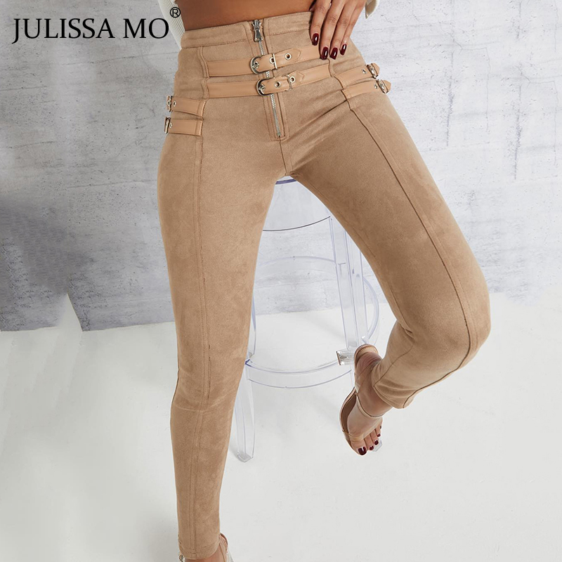 JULISSA MO Punk Suede Leather Women High Waist Pants Autumn Casual Belt Buckle Pencil Pants Black Bodycon Leggings Trousers 2019