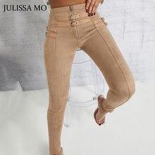 Julisa MO Punk ante cuero de cintura alta Mujer Pantalones otoño Casual cinturón hebilla lápiz Pantalones negro Bodycon Leggings pantalones 2019