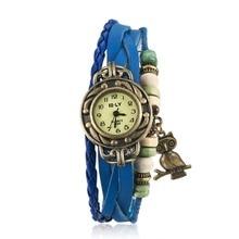 Global hot Vintage ladies bracelet watch owl pendant charm Dress Watches good quality Top brand Female birthday gift