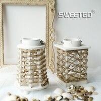 Holz wind lampe leuchter hanfseil dekorationen hochzeit dekorationen retro laterne Europäischen stil wohnaccessoires