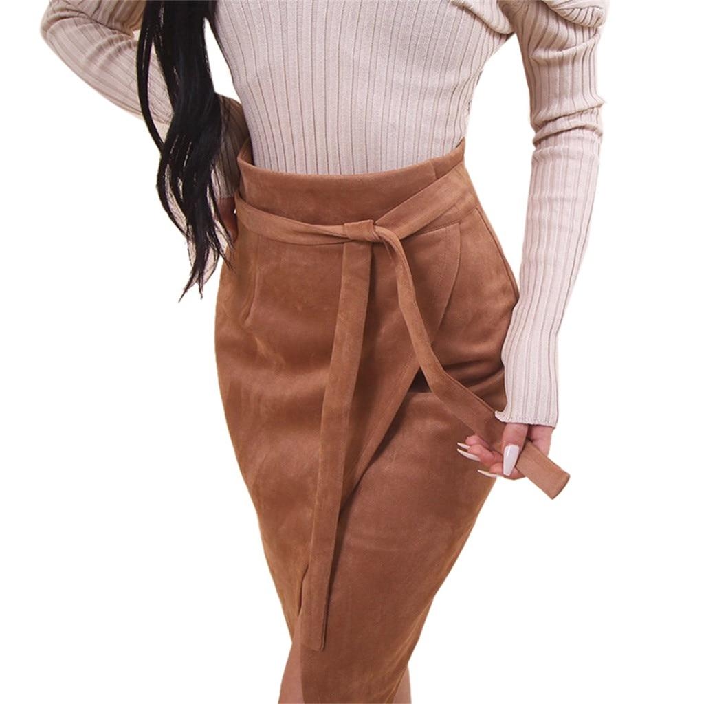 Womens Fashion Solid Asymmetrical Tie Sashes Knee-Length Skirt Korean Bandage Women Mid Calf Long Sashes Skirt