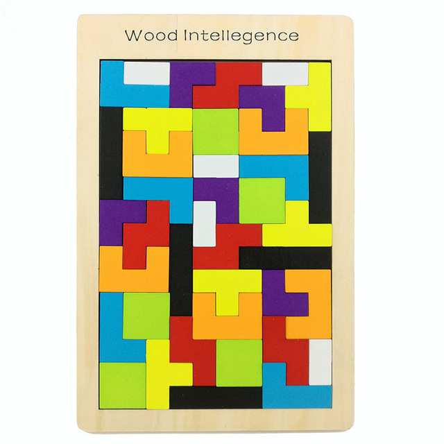 Wooden Tetris Game Classic Russian Block Kids Wood Intelligence Unique Wooden Bricks Game