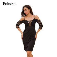 2019 New Summer Sexy fashion personality Dresses Women Deep V-Neck Strap Lace Dress Out Dress Above Knee Mini Dress Vestidos v neck red bean pink colour above knee mini dress satin dress women wedding party bridesmaid dress back of bandage