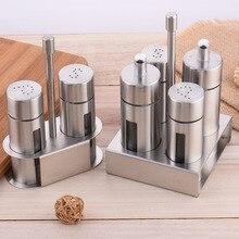 Литор из нержавеющей стали, солонка, перечница, набор, без запаха, для специй, с подставкой, коробка для приправ, для приготовления пищи, бутылка для приправ, кухонные инструменты
