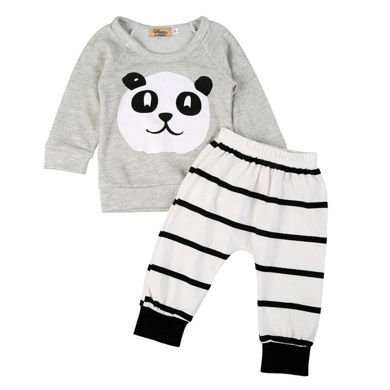 0-18M Infant Baby Boys Panda Pattern Cotton Outfits Set Long Sleeve Shirt +Striped Pant