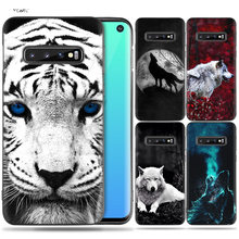 Silicone Case Coque for Samsung Galaxy S8 S9 S10 Lite Plus S10e 5G S7 Edge S8+ S9+ S10+ Note 8 9 Fierce Snow Wolf Painted(China)