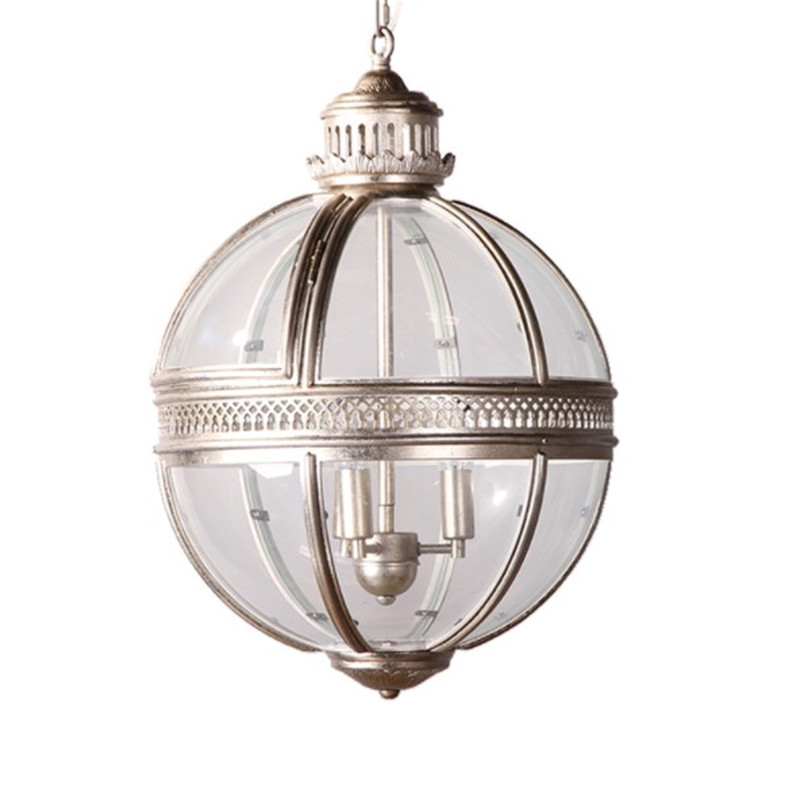 Vintage Globe <font><b>Pendant</b></font> <font><b>Lights</b></font> Loft Lamp Iron Glass Shade Round Lamp Kitchen Dinning Bar Table Luminaire Fixture Hanging Lamps image