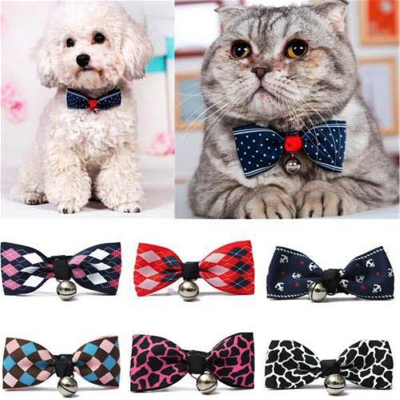 1pcs Adjustable Kawaii Dog Cat Pet Bow Tie With Bells Cute Puppy Kitten Necktie Collar Accessories Drop Shipping