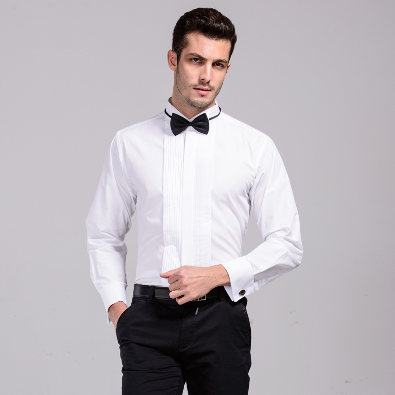 US $15.48 40% OFF|New Arrival French Cuff Wing Tip Collar Men's Formal Dress Shirts Tuxedo Shirts Bridegroom Wedding Shirts For Men Stage Costume in