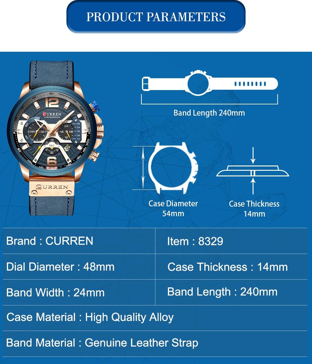 HTB1zrLULPDpK1RjSZFrq6y78VXaB CURREN Relogio Masculino Sport Watch Men Top Brand Luxury Quartz Men's Chronograph Date Military Wrist Watches Waterproof 8329