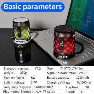 Image 5 - TG カラフルな Led の Bluetooth スピーカーポータブル屋外低音スピーカーワイヤレスミニ列サポート TF カード FM ステレオハイファイボックス