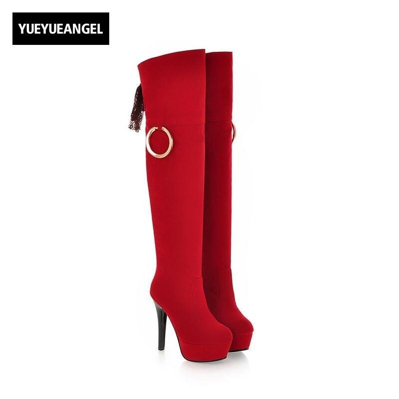 Women Thigh High Boots Lace Up Metal Ring Design Stilettos High Heel Platform Female Shoes Fleece Lining Winter Warm Footwear