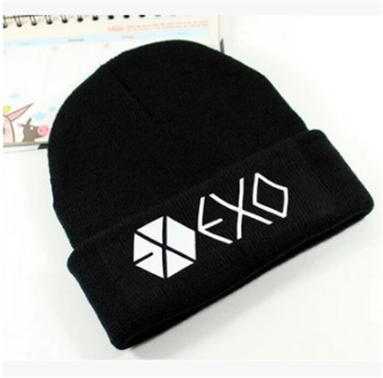Kpop exo women with hats caps winter hat unisex outdoor snow Flexible black caps Hip Hop Cap Skullies k-pop EXO daily hot мужская футболка kpop exo baekhyun chanyeol t camiseta