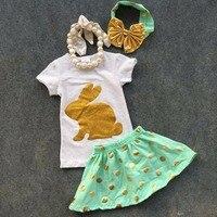 2016 תינוק חדש אסתר יום זהב פאייטים שרוולים קצרים בנות ארנב פסחא תלבושות שמלת סט תלבושות קיץ עם אביזרים תואמים