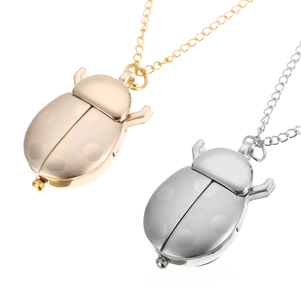Gold/Silver Beetle Pocket Watch Womens Girl Small Animal Necklace Pendant Quartz Shellhard Ladybug Fob Pocket Watch with Chain