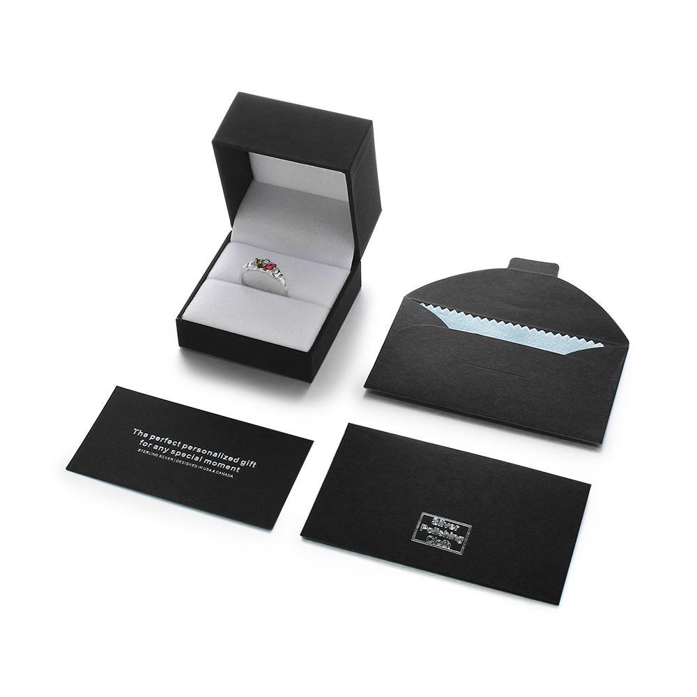 925 Sterling Silber Name Gravieren Ring Bunte Birthstone Ringe Für - Edlen Schmuck - Foto 5