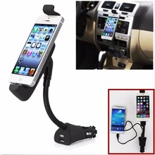 2in1 Adjustable Stand Universal Multifunction USB Car Charger Cigarette Lighter GPS Mount Holder Dispaly for iPhone for Samsung