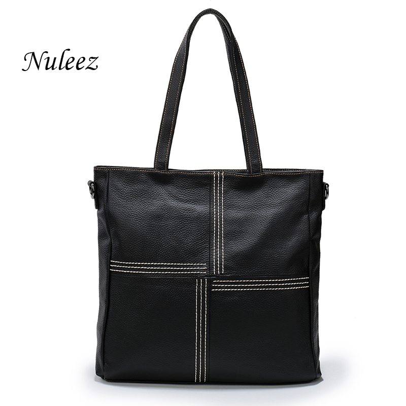 Nuleez Brand Red Black Large Women Handbag Genuine Leather Tote Bag Trend Casual Ladies Shoulder Bag Natural Real Cowhide 1206 2017 esufeir brand genuine leather women handbag fashion shoulder bag solid cowhide composite bag large capacity casual tote bag